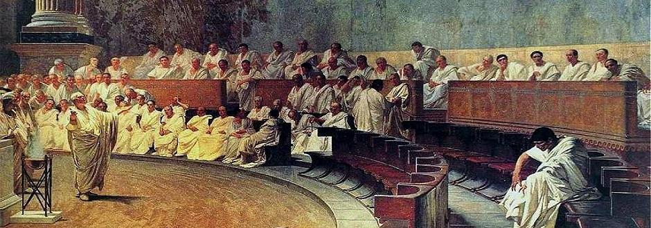 »Quo usque tandem abutere, [publicanus], patientia nostra?« abgewandeltes Zitat aus Marcus Tullius Ciceros 1. Rede gegen Catilina aus dem Jahr 63. v. Chr.